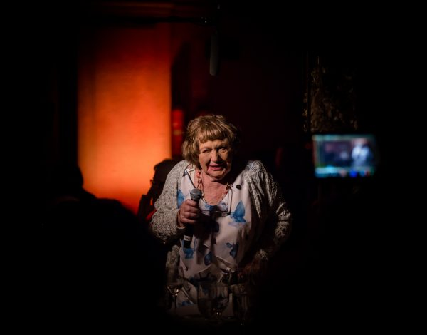 Judith Slade, 88 year old Lesbian speaks at The Coming Back Out Ball. Photo by Bryony Jackson.