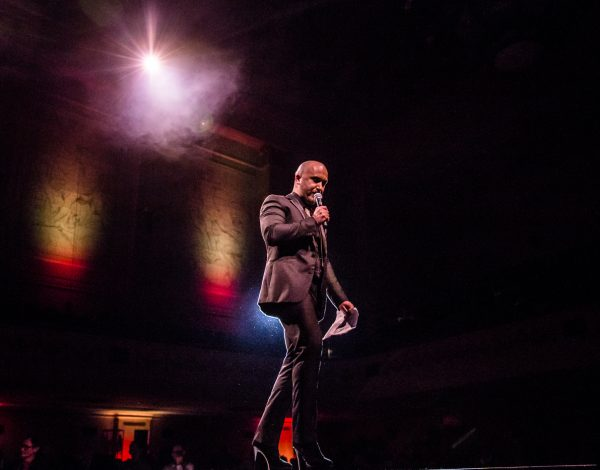 Tristan Meecham speaks at The Coming Back Out Ball. Photo by Bryony Jackson.
