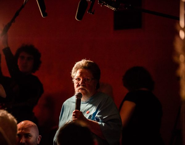 Ardy Tibby speaks at The Coming Back Out Ball. Photo by Bryony Jackson.