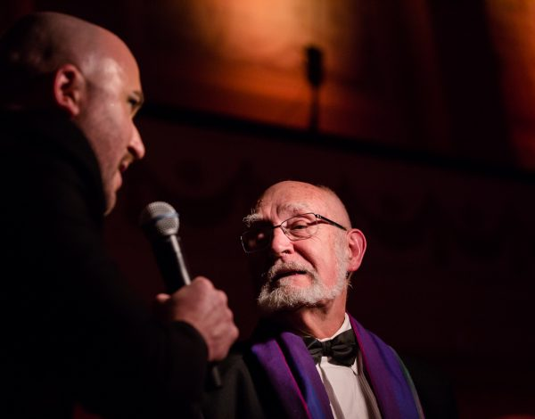Gordon Wilson speaks at The Coming Back Out Ball. Photo by Bryony Jackson.
